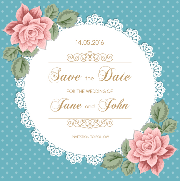 Lace Wedding Invitation Card With Flower Vintage Vector