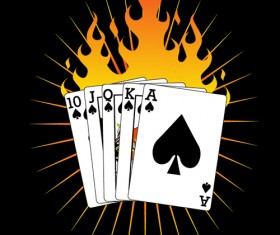 playing cards with flame vector material