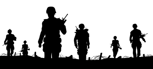 Soldiers silhouettes vector set 03 vector people vector silhouettes