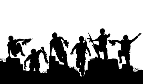 soldiers silhouettes vector set 05