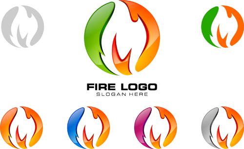 Abstract fire logos vector 01