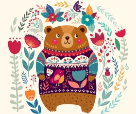 Adorable bear with flowers pattern vector 01