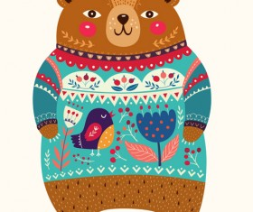 Adorable bear with flowers pattern vector 03