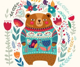 Adorable bear with flowers pattern vector 04