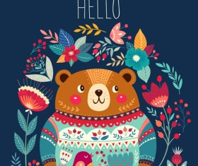 Adorable bear with flowers pattern vector 05