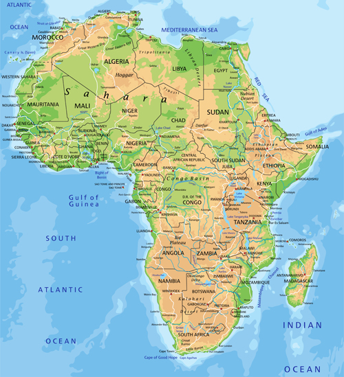 Colorful Physical Map Of Africa 32