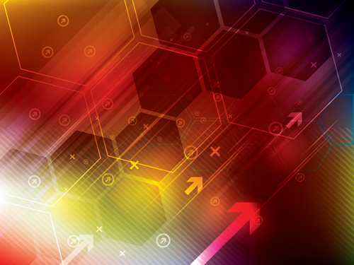 Arrow and hexagons technology background vector 04