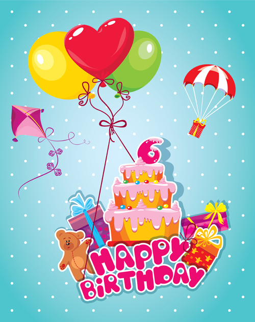 baby birthday card with cake vector material   vector birthday, Birthday card