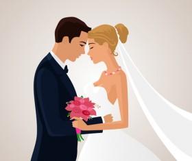 Beautiful bride and groom vector set 03