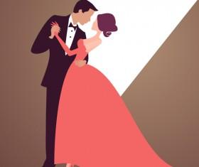 Beautiful bride and groom vector set 04
