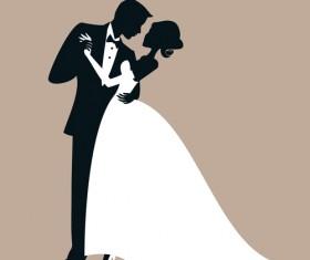Beautiful bride and groom vector set 05