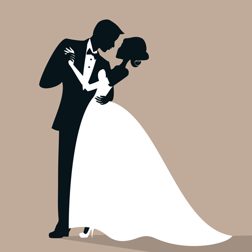 beautiful bride and groom vector set 05 free download rh freedesignfile com bride and groom silhouette vector free download bride and groom vector silhouette