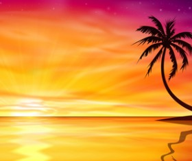 Beautiful island with sunset landscape vector 01