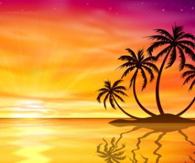 Beautiful island with sunset landscape vector 02