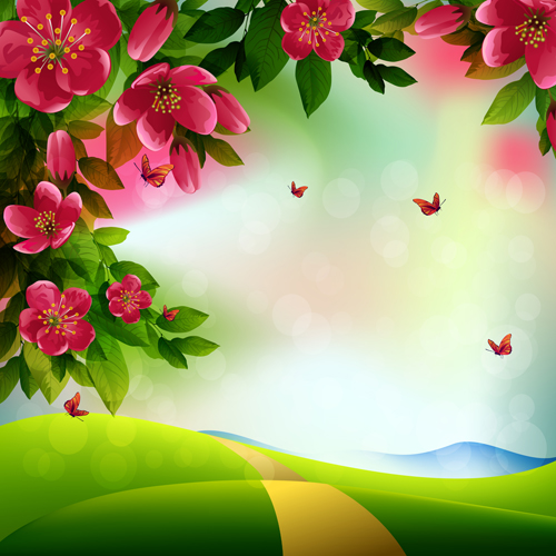 Beautiful red flower vector background 05 vector background free beautiful red flower vector background 05 voltagebd Images