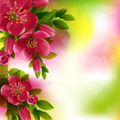 Beautiful Red Flower Vector Background 08 Free Download