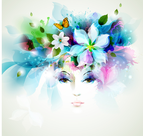 Beautiful Women Face With Watercolor Flower Vector 04