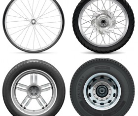 Bicycle Motorcycle Car and Truck Tires vector