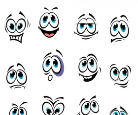 Big eye with face emoticons icons set