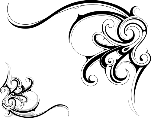 Black Tattoos Ornaments Design Vector Set 01 Free Download