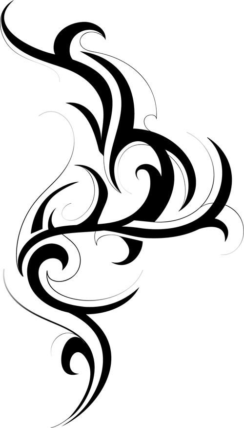 black tattoos ornaments design vector set 08 free download