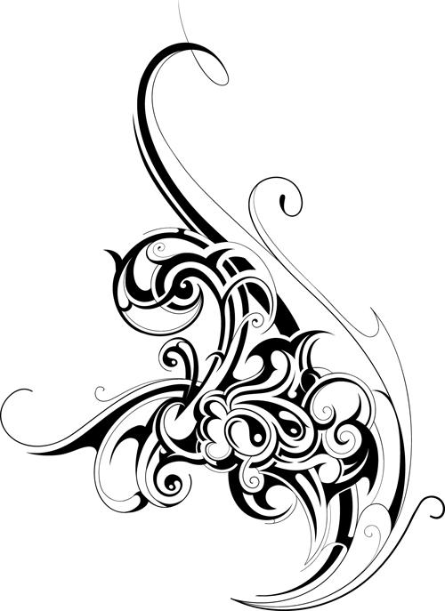 Black tattoos ornaments design vector set 11 vector for Design ornaments