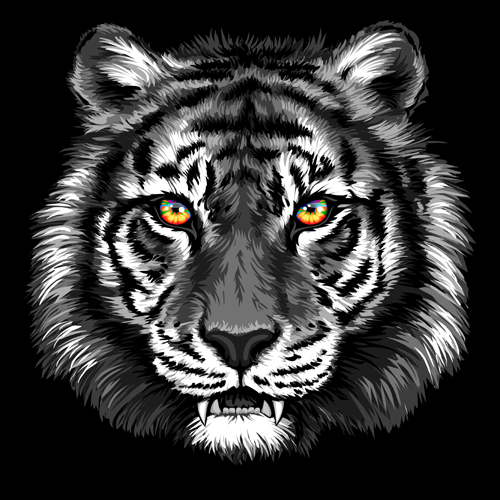 Black tiger head vector