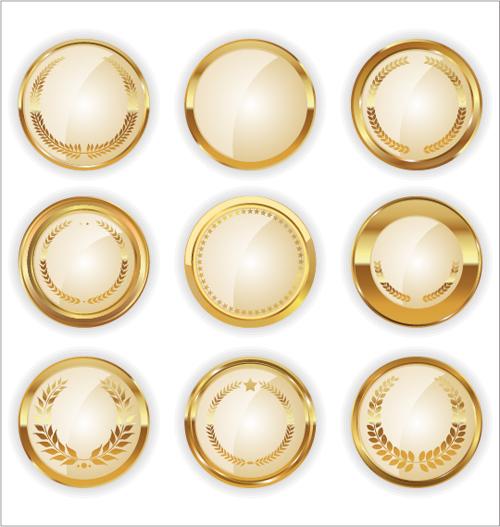 Blank golden texture badge vector 01 - Vector Label free ...