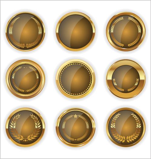 Blank golden texture badge vector 04 - Vector Label free ...
