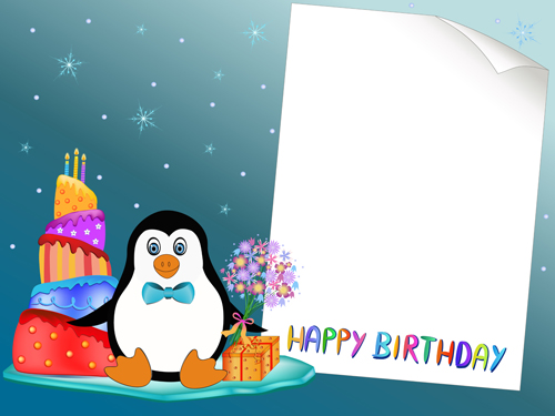 Blank Paper With Birthday Card Vector 02