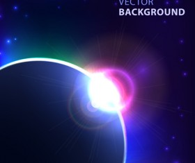 Blue cosmic background vector 04
