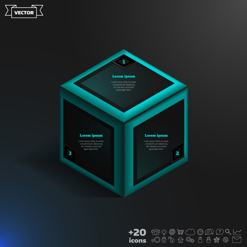 Blue cube infographic black vector 01
