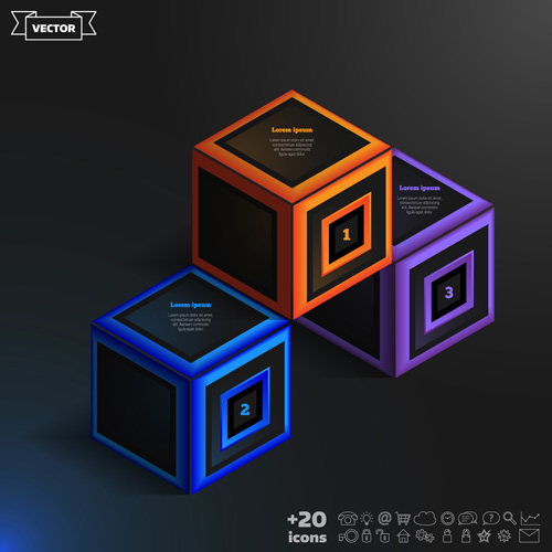 Blue cube infographic black vector 04