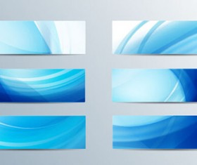 Blue curves abstract banners vector 01