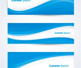Blue curves abstract banners vector 02