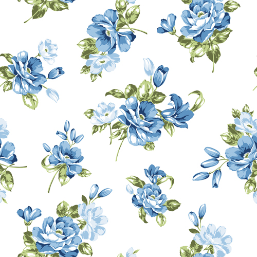 blue flowers seamless pattern vector free download