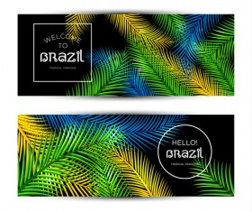 Brazil tropical paradise vector banners 02