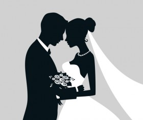 Bride with groom silhouettes vector