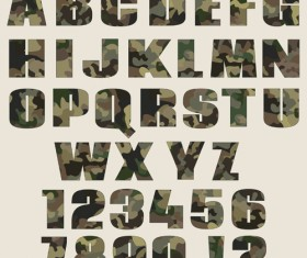 Camouflage alphabets fonts vector 03