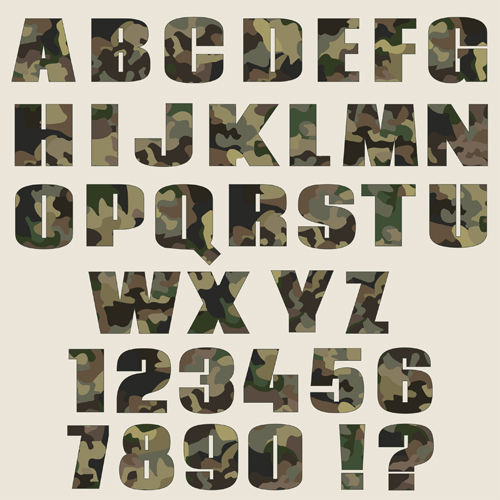 Camouflage Alphabets Fonts Vector 03 Free Download
