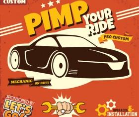 Car service poster vintage vectors 01