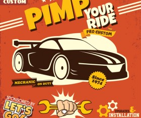 Car service poster vintage vectors 03