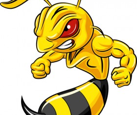 Cartoon angry bee vector illustration 01