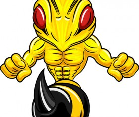 Cartoon angry bee vector illustration 02