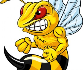 Cartoon angry bee vector illustration 03