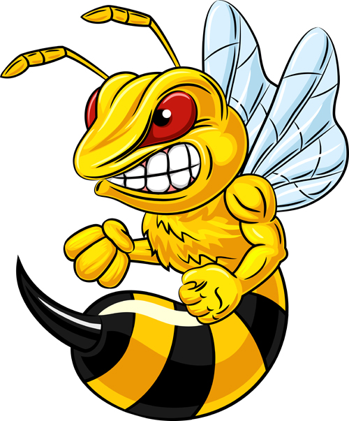 cartoon angry bee vector illustration 03 vector animal Black and White Bee Vector Bee Vector Art