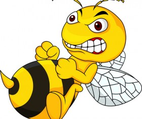 Cartoon angry bee vector illustration 04