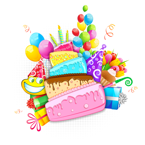 Cartoon Birthday Cake With Elements Vector
