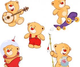 Cartoon cute bear vector set