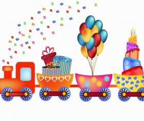 Cartoon train with birthday card vector
